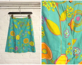 1960s vintage turquoise blue set (skirt and jacket) with psychedelic flower colourful print - UK 8 EU 36 US 6 - Mod Psych Sixties