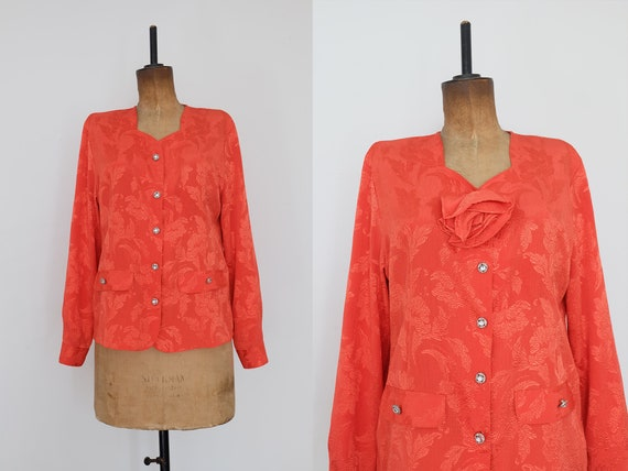 Vintage 80s Orange Floral Blouse