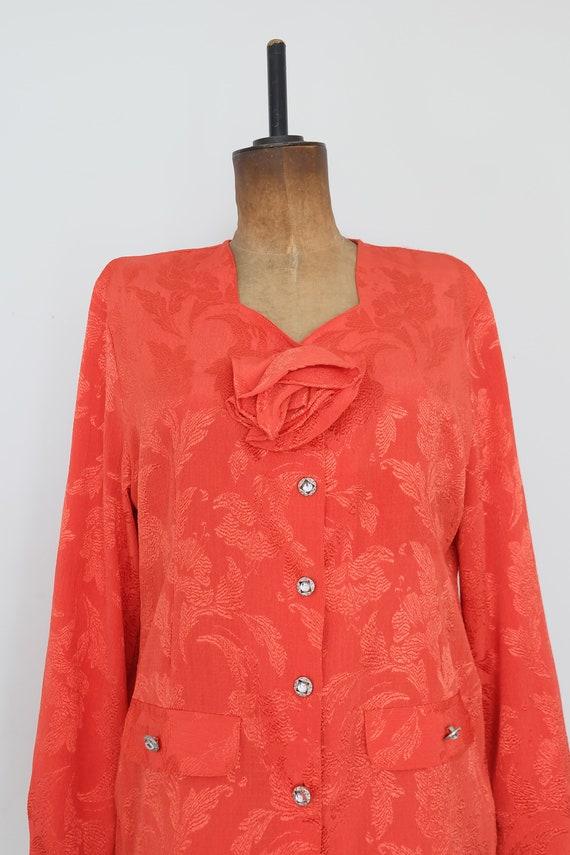Vintage 80s Orange Floral Blouse - image 4