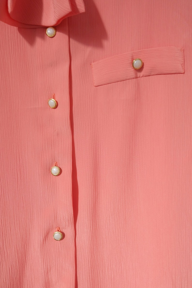 Vintage 80s Coral Pink Blouse