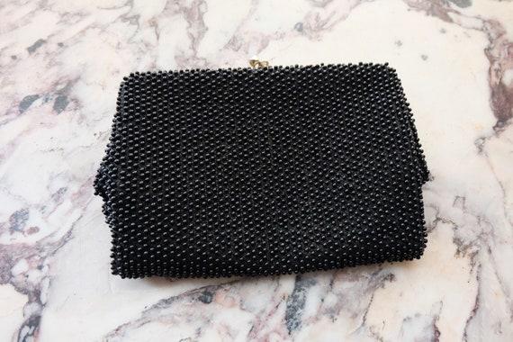 Vintage 60s Black Beaded Clutch Handbag