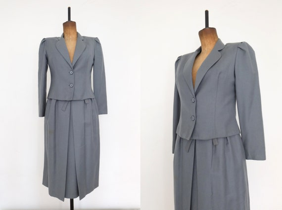 Vintage 70s Blue Grey Blazer and Skirt Suit Two Pi