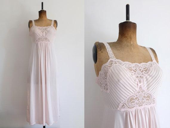 Vintage 80s Pink Maxi Slip Dress
