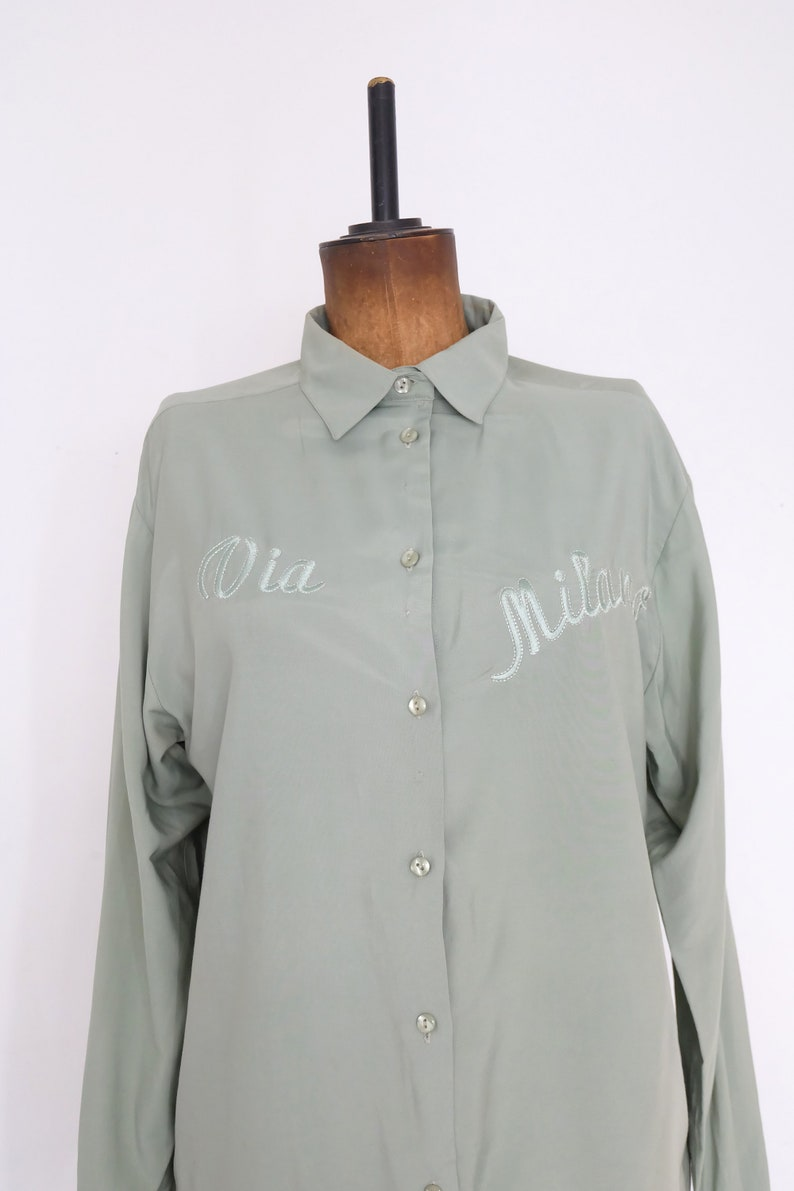 Vintage 90s Pastel Green and Silver /'Via Milano/' Embroidered Bow Blouse