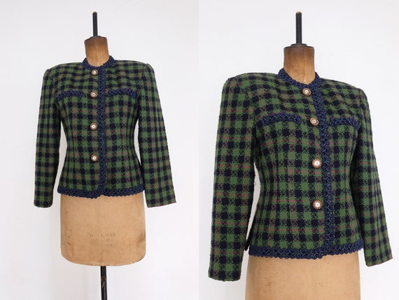 Vintage 80s Green, Blue and Pink Plaid Short Jacke