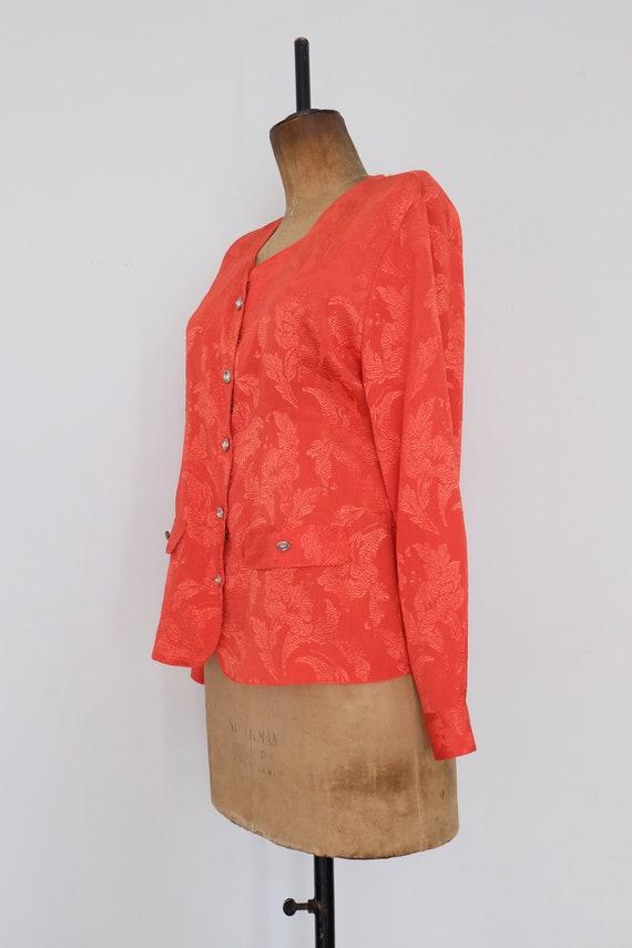 Vintage 80s Orange Floral Blouse - image 7