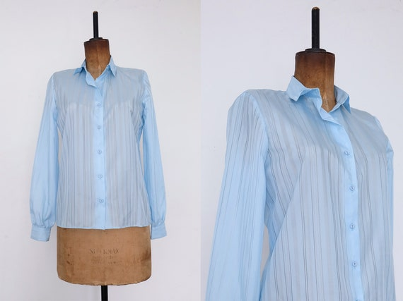 Vintage 70s 'Penney' Baby Blue Sheer Striped Shirt