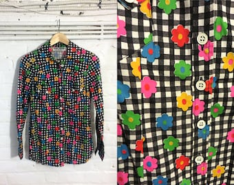 1960s Flower and Gingham print Blouse Top Shirt - Uk 10 Eu 38 Us 8 - Mod Psych Sixties