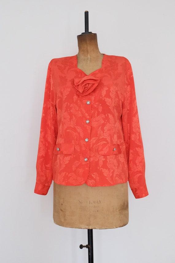 Vintage 80s Orange Floral Blouse - image 3