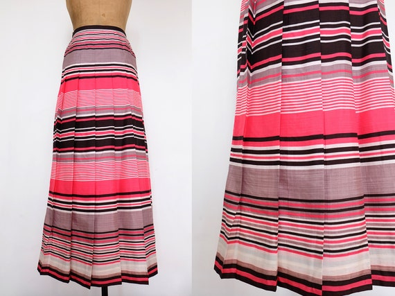 Vintage 60s Pink, Grey, White and Black Striped an