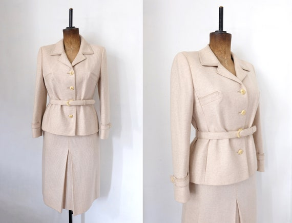 Vintage 70s Beige Tweed Skirt and Blazer Two-Piece