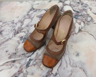 1970s vintage brown leather and suede mary jane heeled shoes - UK 3 1/2 EU 36 US 6