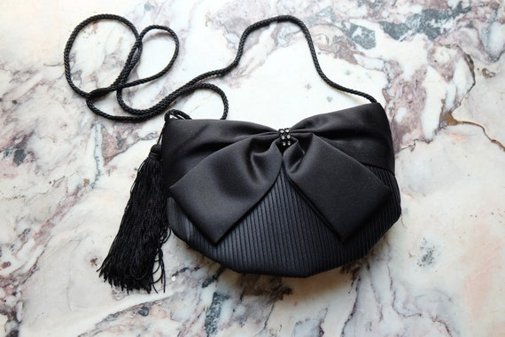 Vintage 80s Black Satin Bow Mini Evening Bag