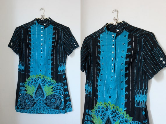 Vintage 60s 'Zibaut' Blue Ethnic Tunic Top