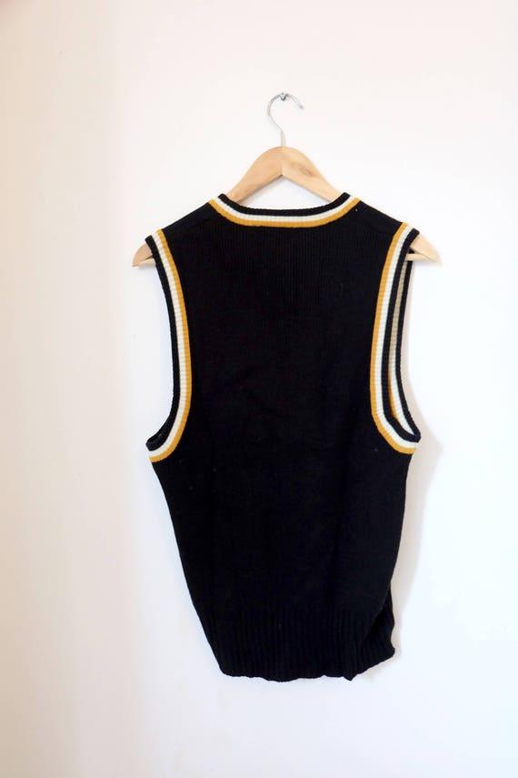 orange orange orange des années 1970 vintage noir et blanc tricoté veste Varsity Seventies - taille X-Large- 48ef96