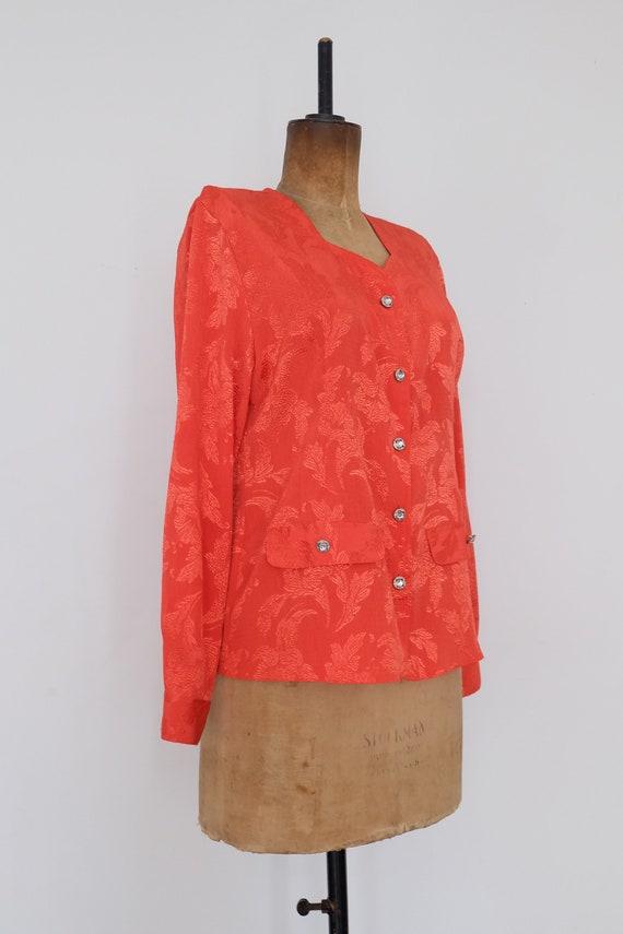 Vintage 80s Orange Floral Blouse - image 5