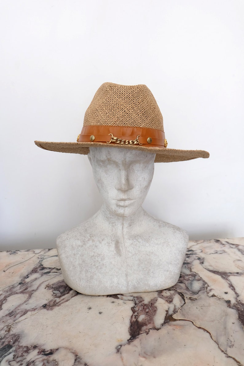 Vintage beige straw Panama sun hat
