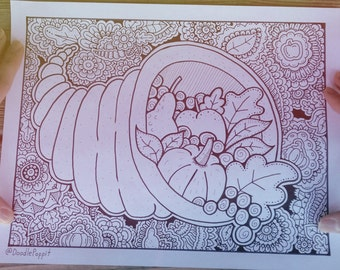 Thanksgiving Coloring Page, Coloring Book Pages, Printable Adult Coloring, Hand Drawn, Doodle, Art Therapy, Instant Download Print