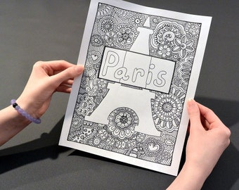 PARIS Coloring Page Book Pages Printable Adult Hand Drawn Doodle Art Therapy Instant Download Print