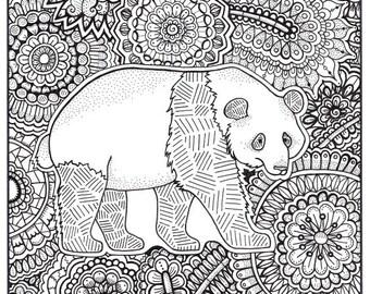 Panda Coloring Page Etsy