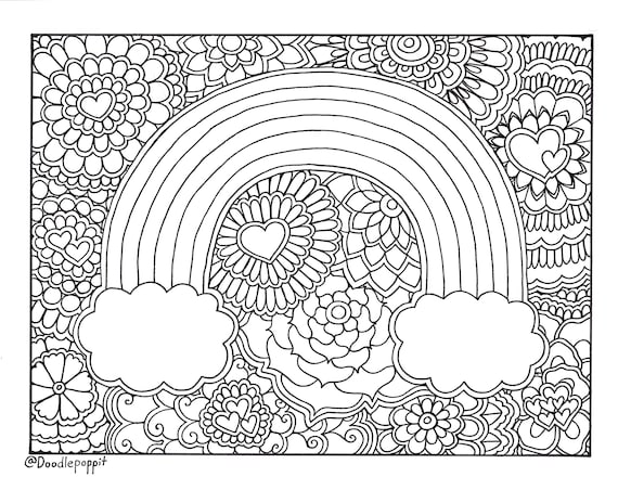 It is a picture of Unusual adult rainbow coloring pages