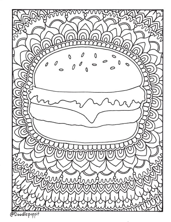 Hamburger Cheeseburger Foodie Coloring Page Coloring Book Pages Printable Adult Coloring Hand Drawn Art Therapy Instant Download Print