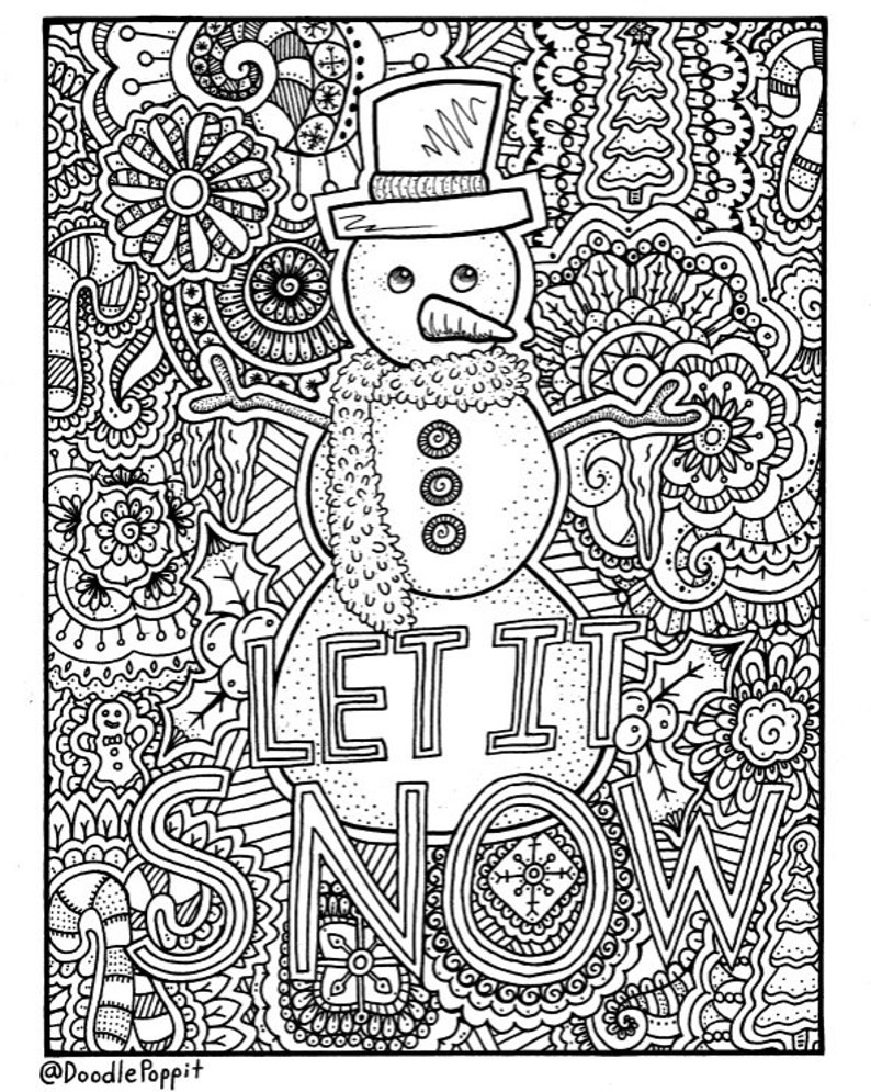 Christmas Coloring Page Coloring Book Pages Printable Adult | Etsy