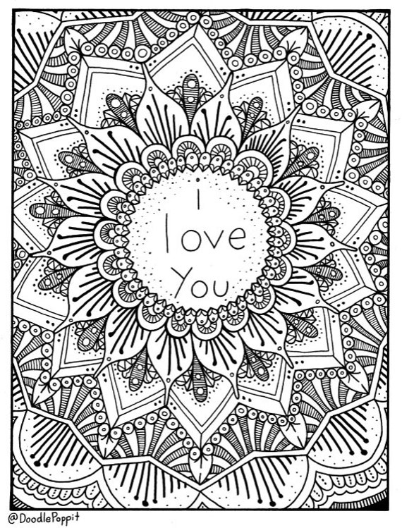 i love you Coloring Page, Coloring Book Pages, Printable Adult Coloring,  Hand Drawn, Doodle Words, Art Therapy, Instant Download Print