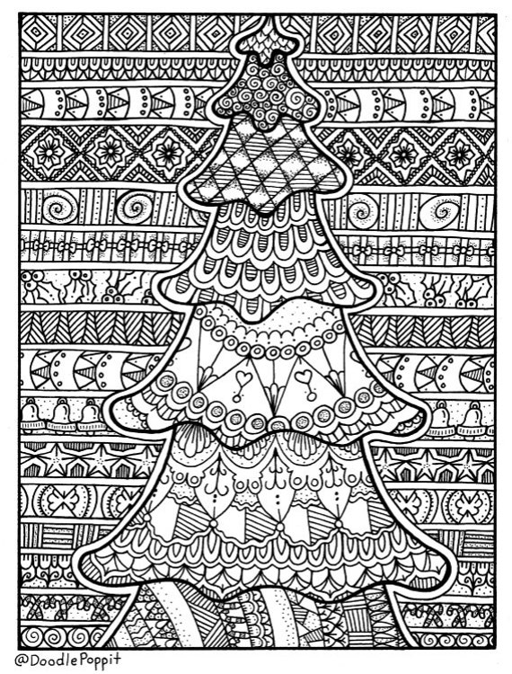 - Christmas Coloring Page Coloring Book Pages Printable Adult Etsy