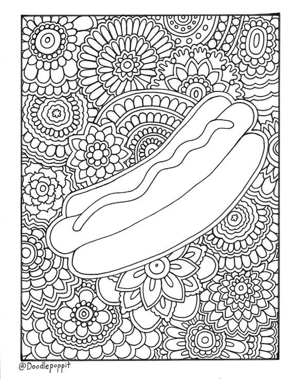 HOT DOG Foodie Coloring Page, Coloring Book Pages, Printable Adult  Coloring, Hand Drawn, Doodle, Art Therapy, Instant Download Print