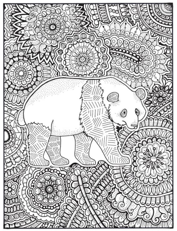 Panda Coloring Page, Coloring Book Pages, Printable Adult Coloring, Hand  Drawn, Art Therapy, Instant Download Print