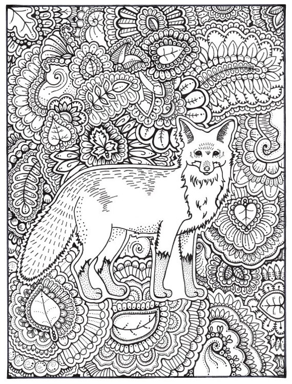 Fox Coloring Page, Coloring Book Pages, Printable Adult Coloring, Hand  Drawn, Art Therapy, Instant Download Print