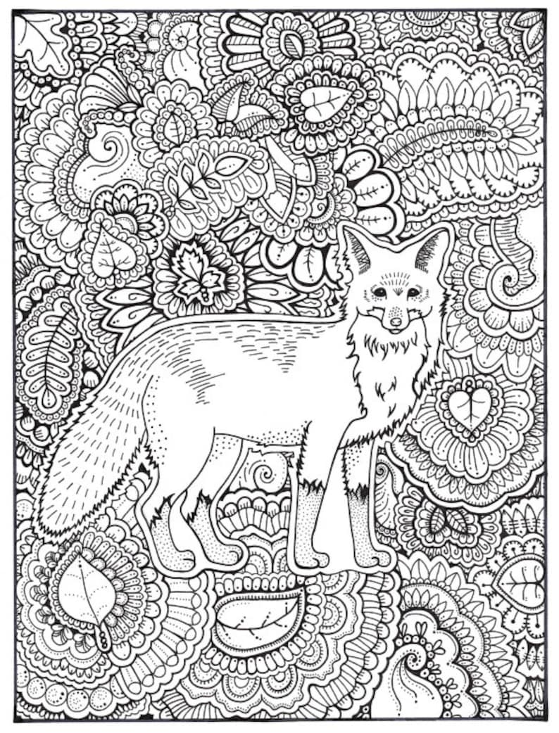 Fox Coloring Page Coloring Book Pages Printable Adult | Etsy