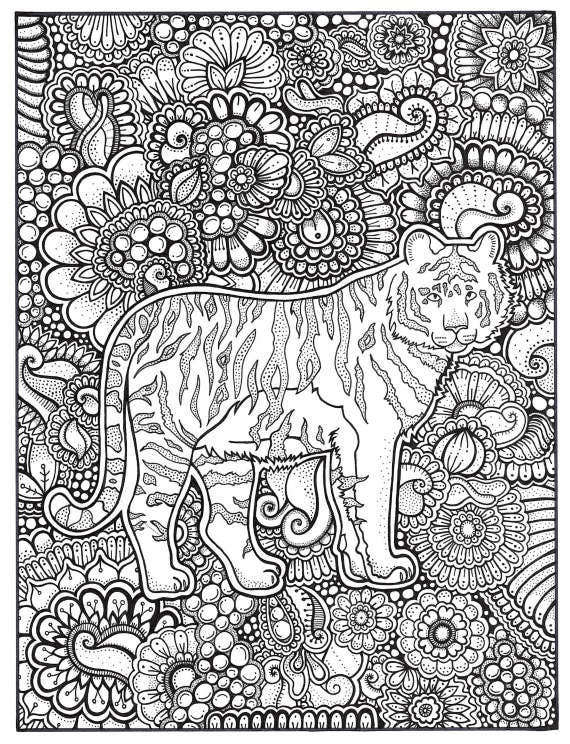Tiger Coloring Page, Coloring Book Pages, Printable Adult Coloring, Hand  Drawn, Art Therapy, Instant Download Print