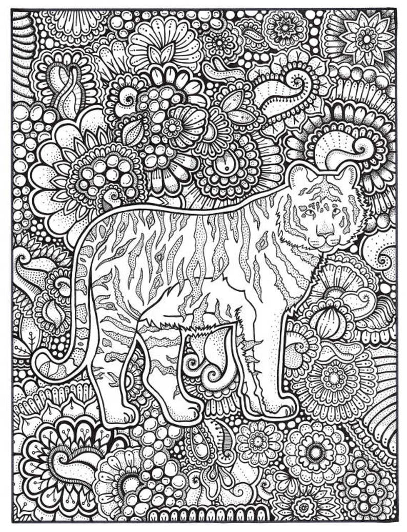 photograph relating to Printable Tiger Coloring Pages known as Tiger Coloring Web page, Coloring Reserve Web pages, Printable Grownup Coloring, Hand Drawn, Artwork Remedy, Instantaneous Obtain Print