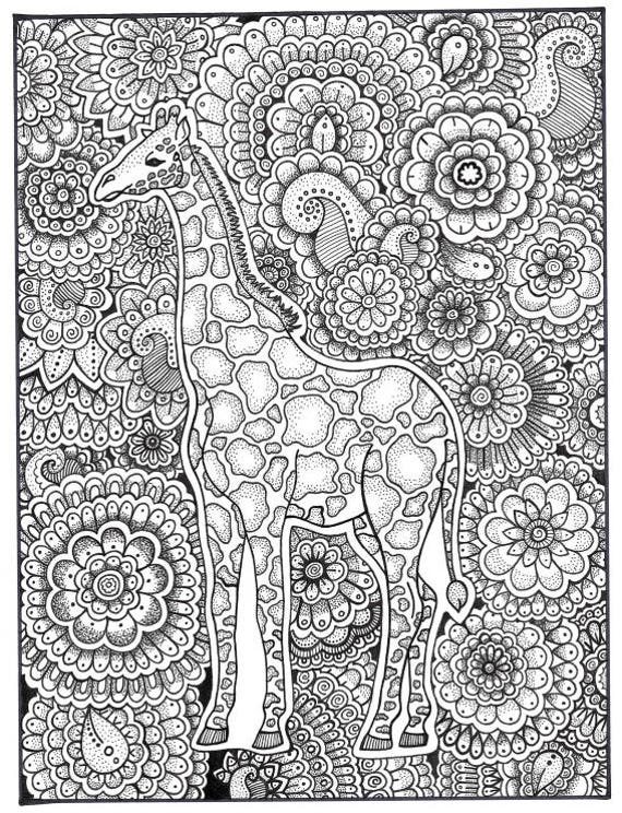Giraffe Coloring Page, Coloring Book Pages, Printable Adult Coloring, Hand  Drawn, Art Therapy, Instant Download Print