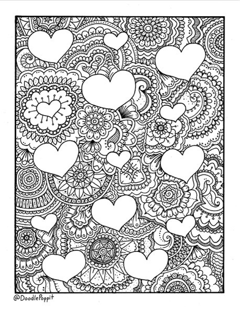 VALENTINE Coloring Page, Coloring Book Pages, Printable Adult Coloring,  Hand Drawn, Doodle, Art Therapy, Instant Download Print