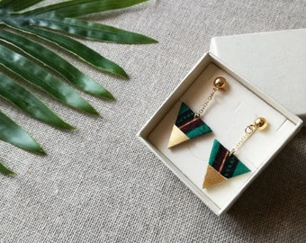Green and brown african prints fabric and golden leather triangle earrings - Handmade jewelry - Gift idea -  Recycled leather - Handmade