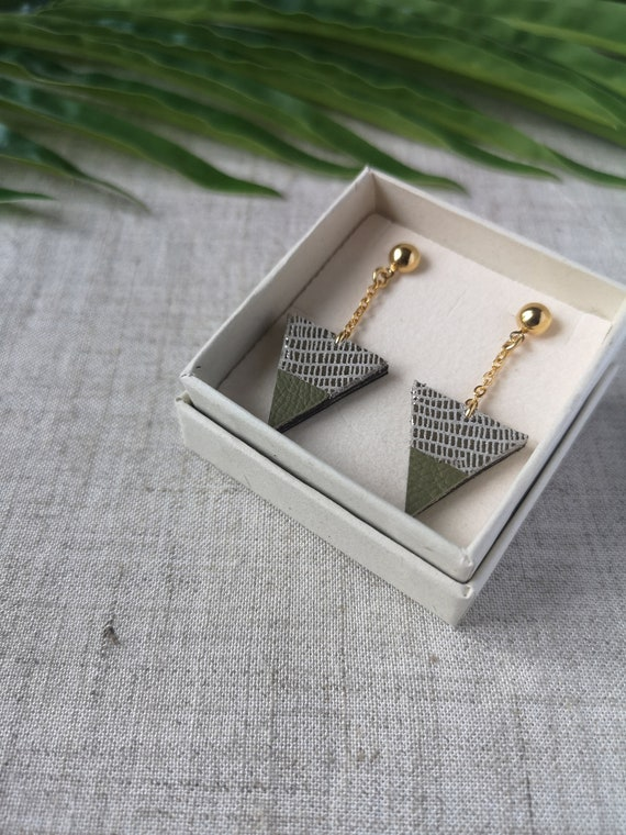 Gift idea Recycled leather  upcycling White and golden leather triangle earrings with gold plated chain Mother/'s day Spring