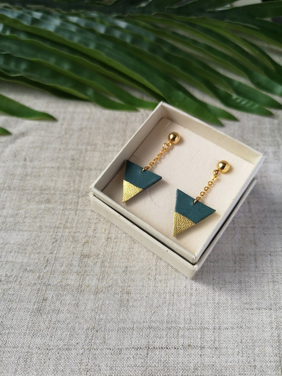 Spring Gift idea Royal blue and golden leather triangle earrings with gold plated chain Mother/'s day Recycled leather upcycling
