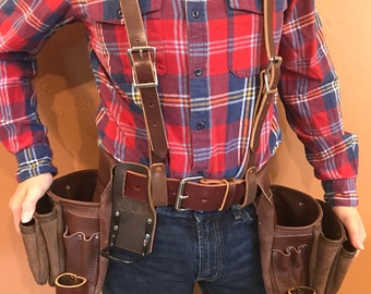 Leather Tool Belt with Suspenders- Large 6 pockets - Free Shipping - Handmade - Amish - Made in USA