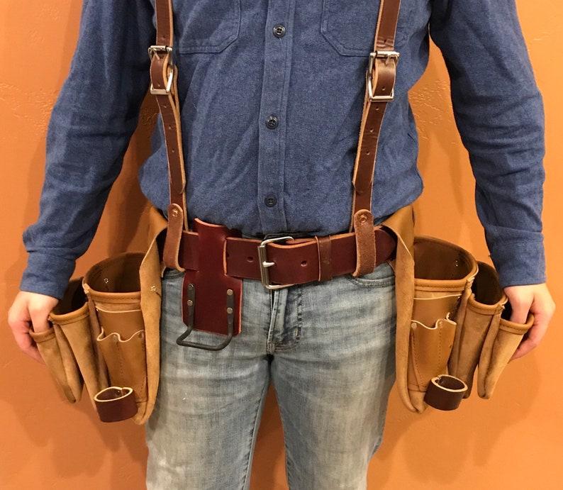 Leather Tool Belt w/ Suspenders Large General Carpenters  image 0