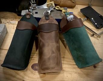 Leather Bottle Holder - Free Shipping - Amish Handmade - Saddlebag - Brown, Black, Green - Made in USA
