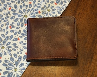 Leather Bifold Wallet - Free Shipping -  Amish Handmade - Genuine - Brown - Made in USA