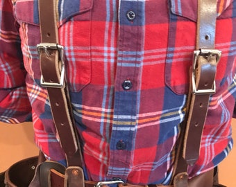 Leather Suspenders- For Use with Tool Belt - Handmade - Amish - Made in USA