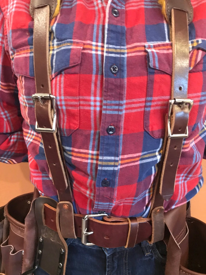 Leather Work Suspenders / Padded Suspension  Real Wool  image 0