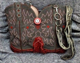 BEAUTIFUL Grey and Red Ariat Cowboy Boot Purse