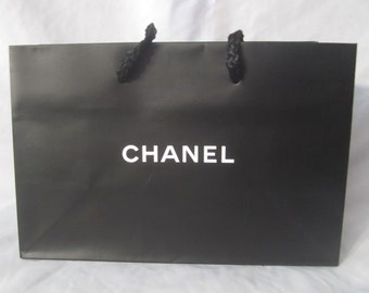 aa4589d9683a CHANEL Matte Black with White Insignia Tote Shopping Gift Favor Bag 6.25 x  9.5 x 4.25 Great for Valentine's Birthday Bridal Anniversary Gift