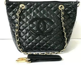 f37dace5017d CHANEL Black Quilted Shoulder Bag Tote Bag with Gold Braided Straps Black CC  Emblem Gold Double Grommets with Chanel Emblem- Perfect Gift