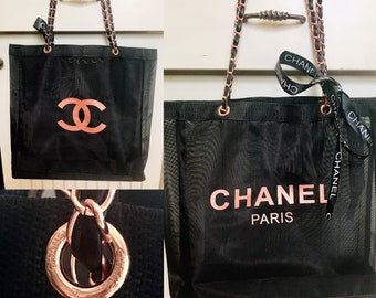 80b2cc7b6e7b Chanel Large Black Fine Mesh Tote Gift Favor Bag Rose CC and Chanel Paris  Emblems Braided Rose Gold Straps -Great for Brides Graduates Beach